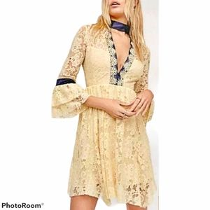 FREE PEOPLE Ivory Gilded Lace Dress